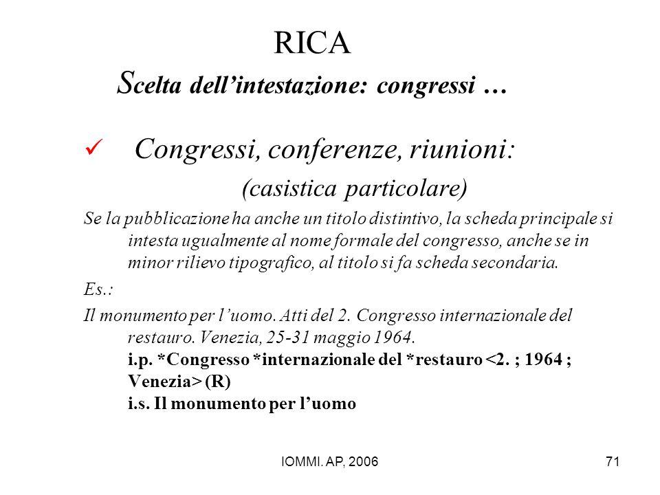 IOMMI. AP, 200671 RICA S celta dell'intestazione: congressi … Congressi, conferenze, riunioni: (casistica particolare) Se la pubblicazione ha anche un