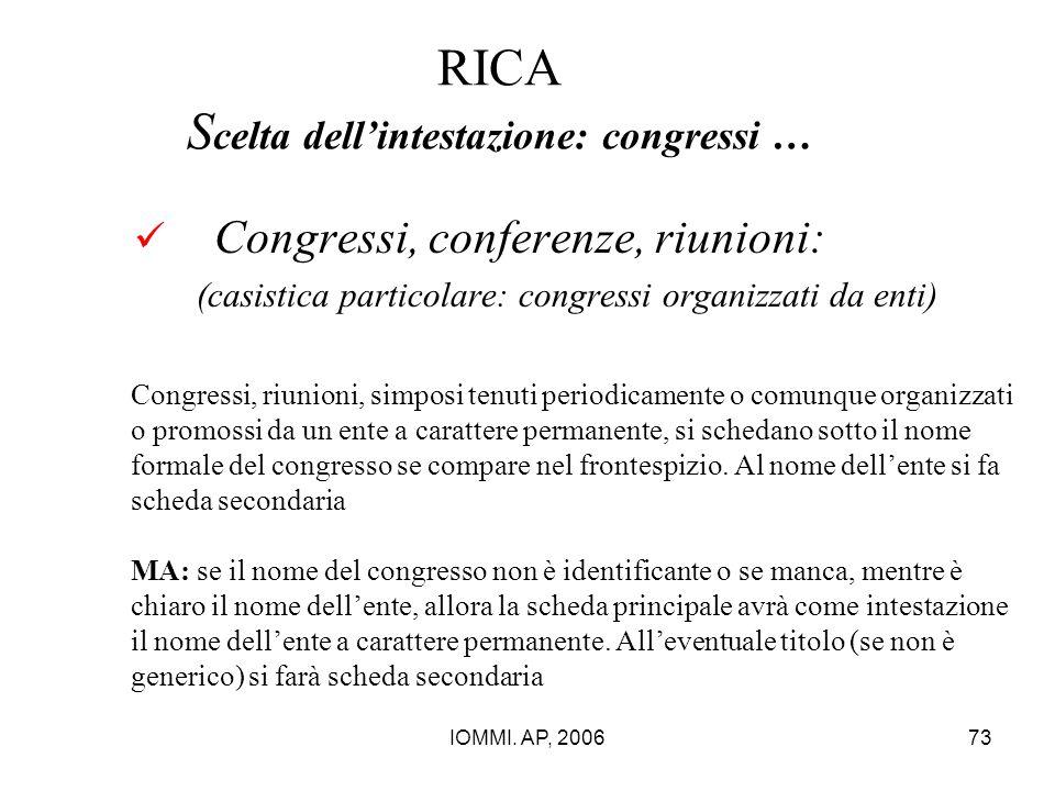 IOMMI. AP, 200673 RICA S celta dell'intestazione: congressi … Congressi, conferenze, riunioni: (casistica particolare: congressi organizzati da enti)