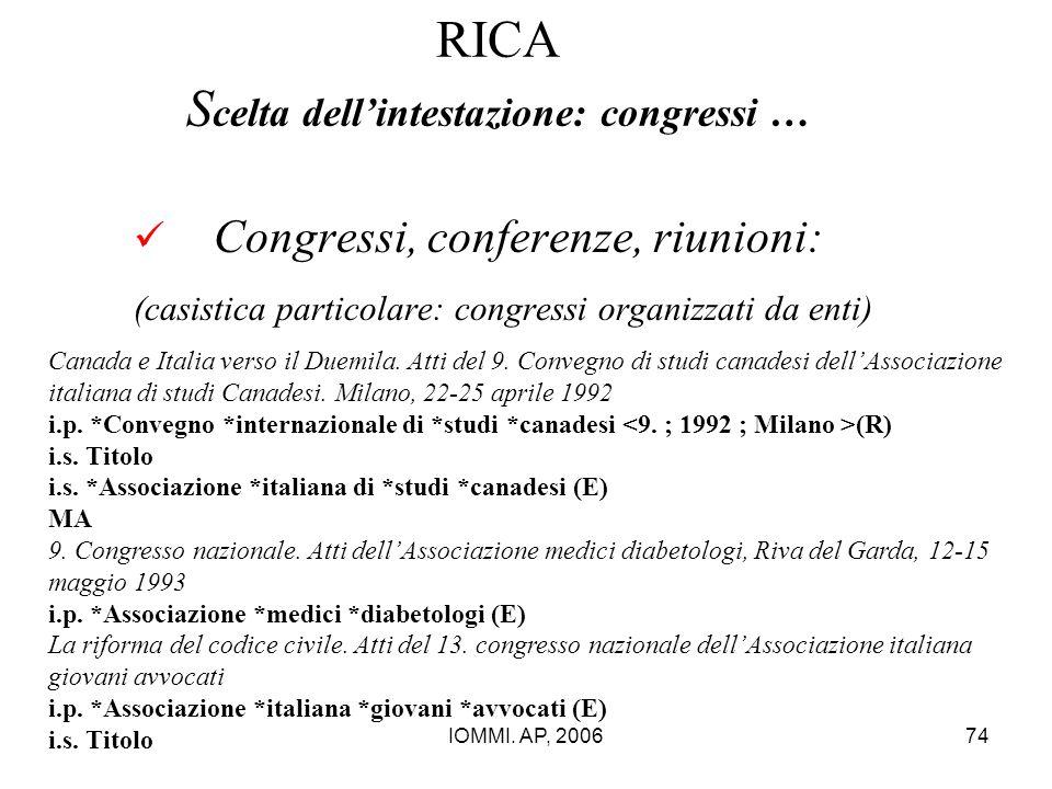 IOMMI. AP, 200674 RICA S celta dell'intestazione: congressi … Congressi, conferenze, riunioni: (casistica particolare: congressi organizzati da enti)