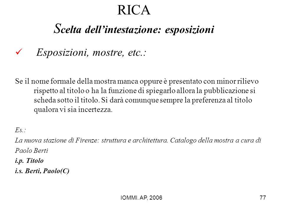 IOMMI. AP, 200677 RICA S celta dell'intestazione: esposizioni Esposizioni, mostre, etc.: Se il nome formale della mostra manca oppure è presentato con
