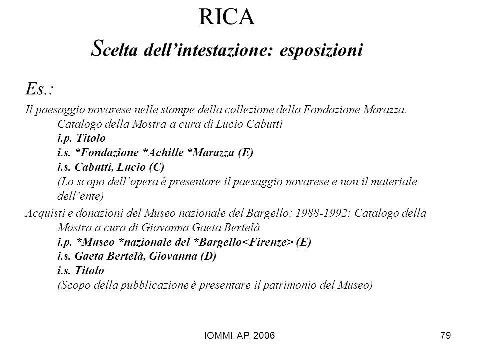 IOMMI. AP, 200679 RICA S celta dell'intestazione: esposizioni Es.: Il paesaggio novarese nelle stampe della collezione della Fondazione Marazza. Catal