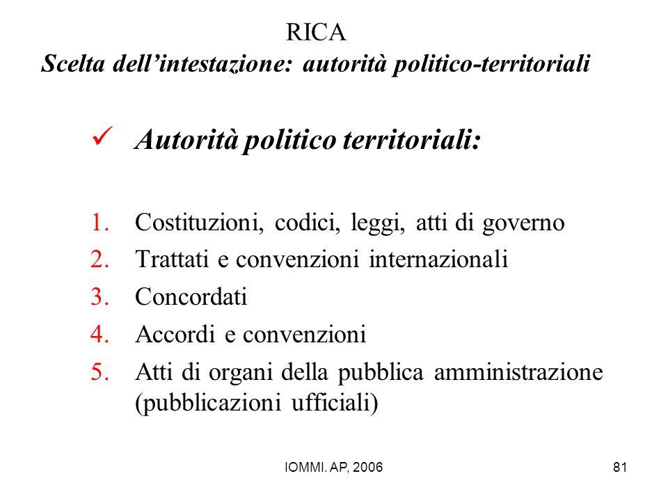 IOMMI. AP, 200681 RICA Scelta dell'intestazione: autorità politico-territoriali Autorità politico territoriali: 1.Costituzioni, codici, leggi, atti di