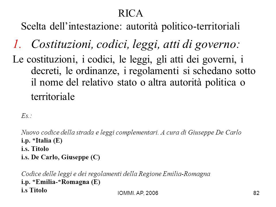 IOMMI. AP, 200682 RICA Scelta dell'intestazione: autorità politico-territoriali 1.Costituzioni, codici, leggi, atti di governo: Le costituzioni, i cod