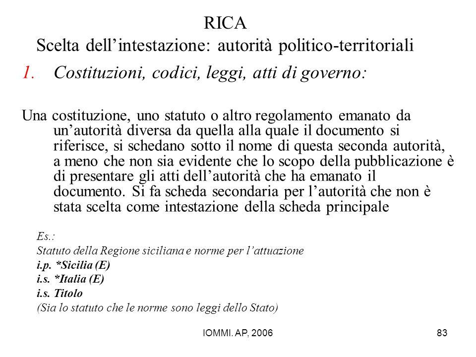 IOMMI. AP, 200683 RICA Scelta dell'intestazione: autorità politico-territoriali 1.Costituzioni, codici, leggi, atti di governo: Una costituzione, uno