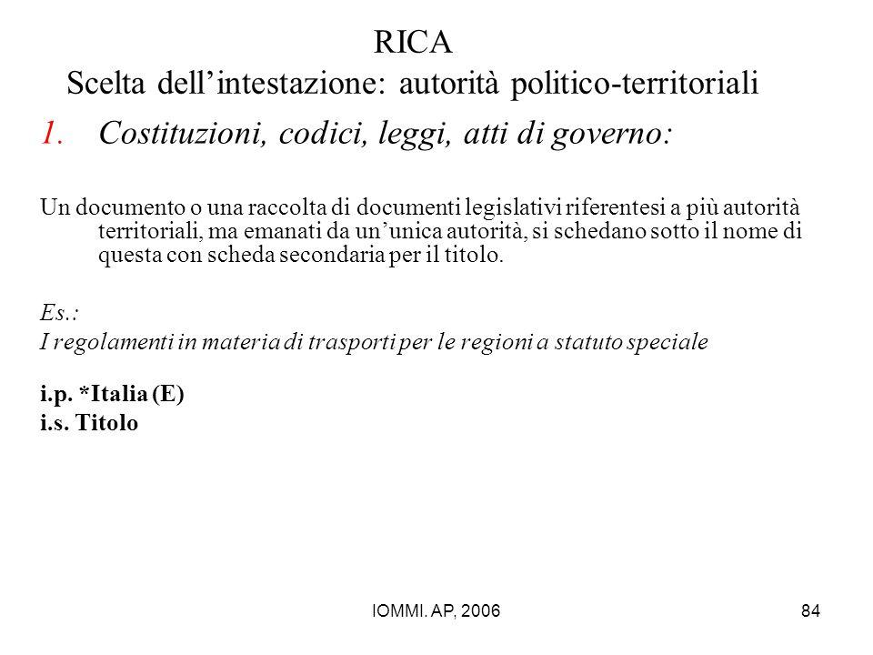 IOMMI. AP, 200684 RICA Scelta dell'intestazione: autorità politico-territoriali 1.Costituzioni, codici, leggi, atti di governo: Un documento o una rac