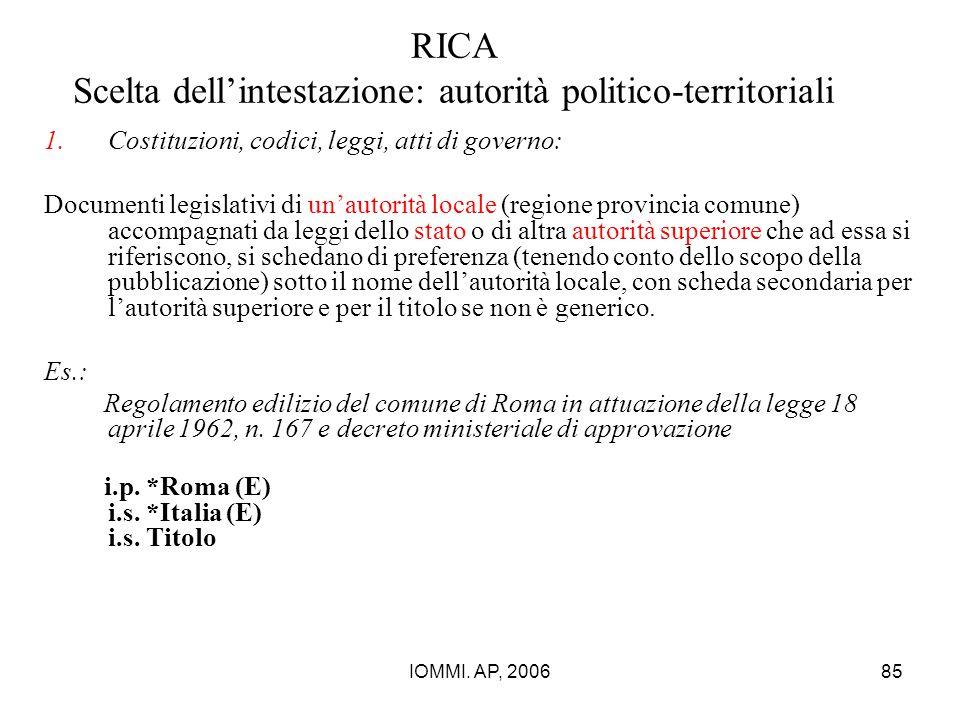 IOMMI. AP, 200685 RICA Scelta dell'intestazione: autorità politico-territoriali 1.Costituzioni, codici, leggi, atti di governo: Documenti legislativi