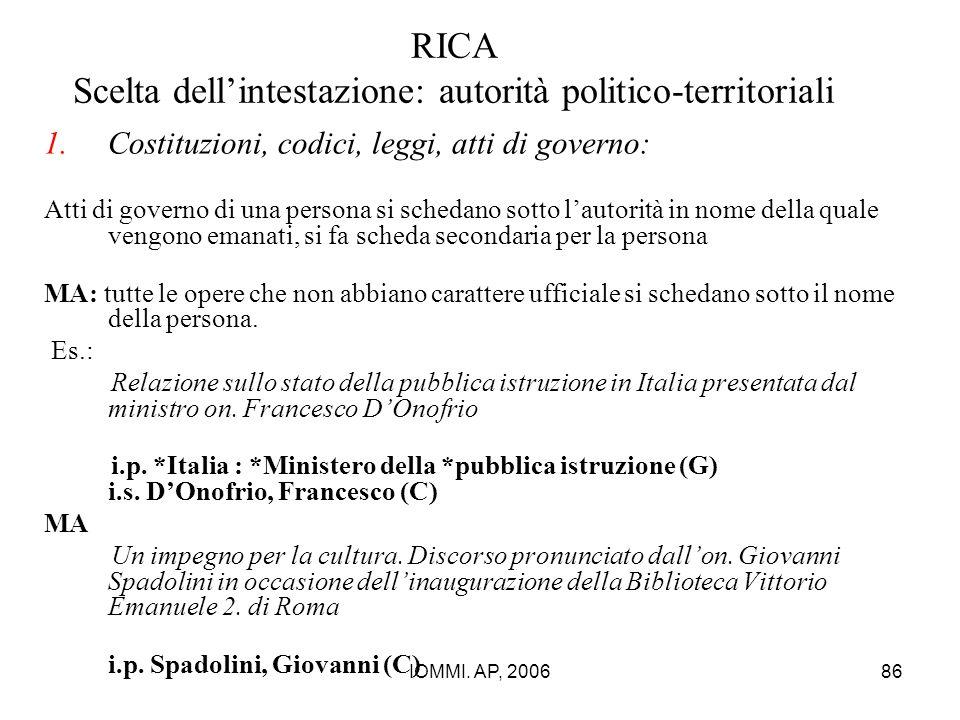 IOMMI. AP, 200686 RICA Scelta dell'intestazione: autorità politico-territoriali 1.Costituzioni, codici, leggi, atti di governo: Atti di governo di una