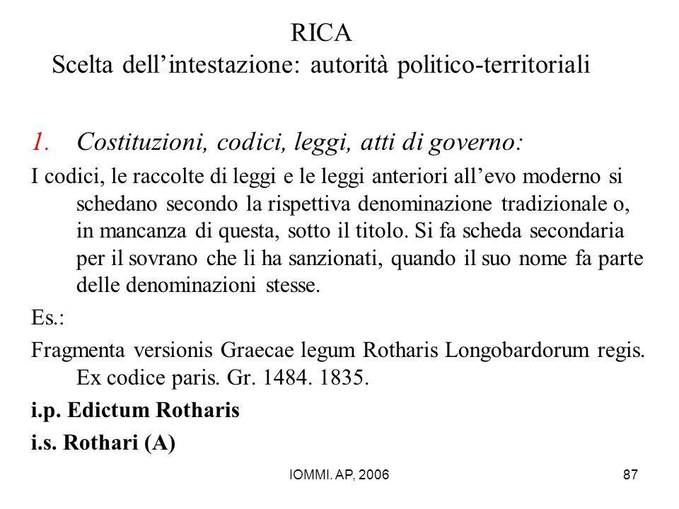 IOMMI. AP, 200687 RICA Scelta dell'intestazione: autorità politico-territoriali 1.Costituzioni, codici, leggi, atti di governo: I codici, le raccolte
