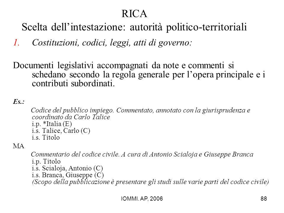 IOMMI. AP, 200688 RICA Scelta dell'intestazione: autorità politico-territoriali 1.Costituzioni, codici, leggi, atti di governo: Documenti legislativi