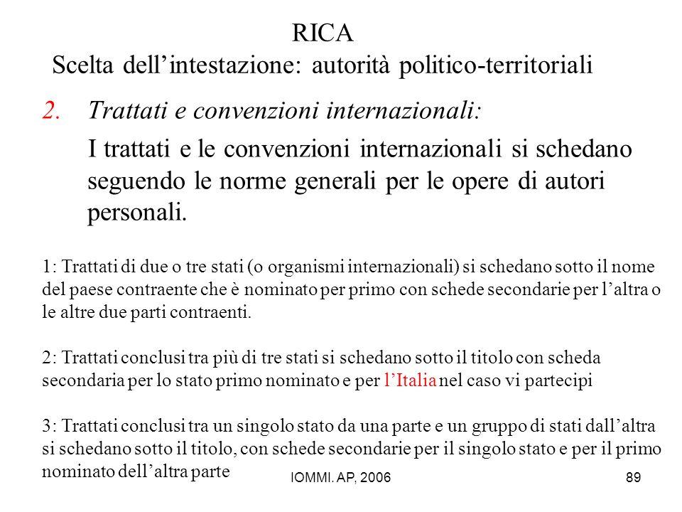 IOMMI. AP, 200689 RICA Scelta dell'intestazione: autorità politico-territoriali 2.Trattati e convenzioni internazionali: I trattati e le convenzioni i
