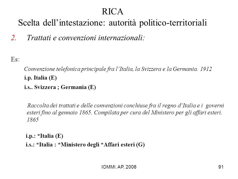 IOMMI. AP, 200691 RICA Scelta dell'intestazione: autorità politico-territoriali 2.Trattati e convenzioni internazionali: Es: Convenzione telefonica pr