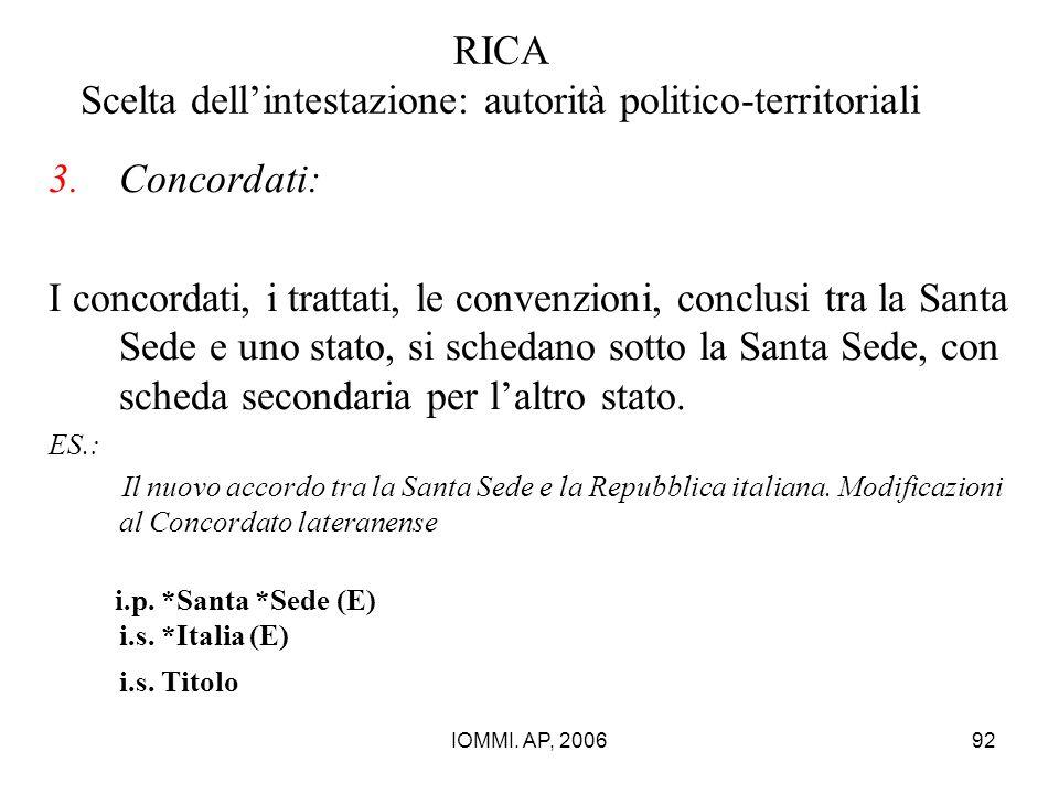 IOMMI. AP, 200692 RICA Scelta dell'intestazione: autorità politico-territoriali 3.Concordati: I concordati, i trattati, le convenzioni, conclusi tra l