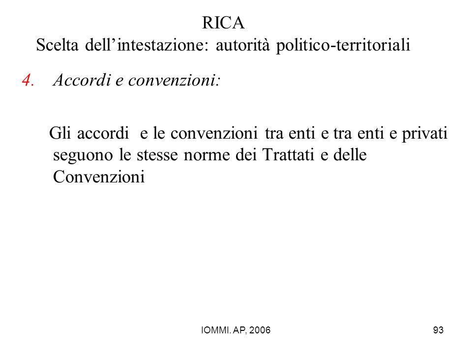IOMMI. AP, 200693 RICA Scelta dell'intestazione: autorità politico-territoriali 4.Accordi e convenzioni: Gli accordi e le convenzioni tra enti e tra e