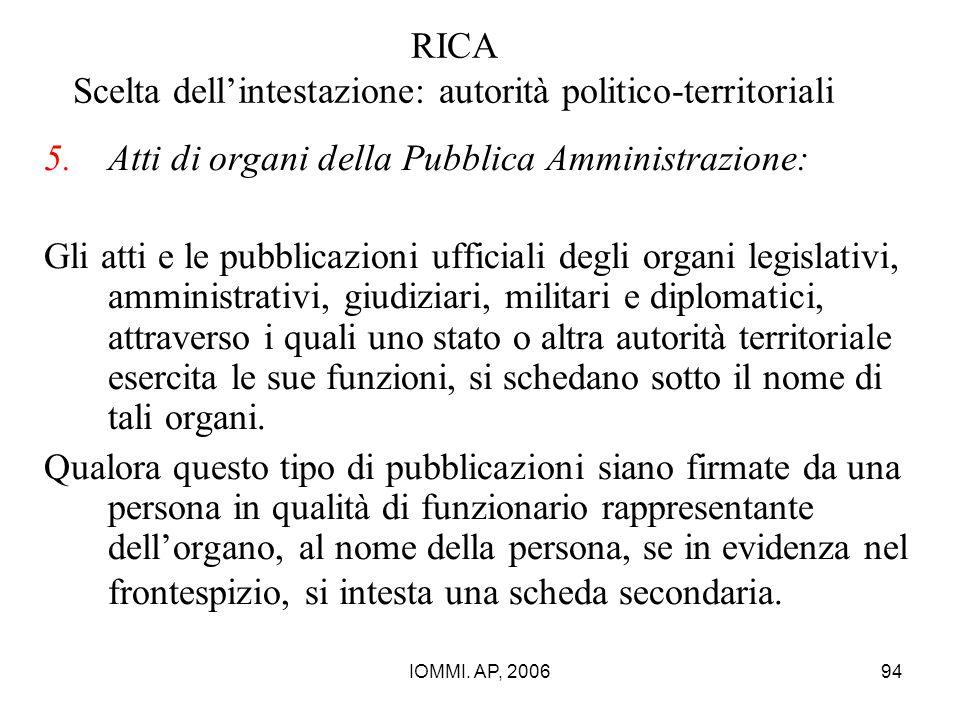 IOMMI. AP, 200694 RICA Scelta dell'intestazione: autorità politico-territoriali 5.Atti di organi della Pubblica Amministrazione: Gli atti e le pubblic