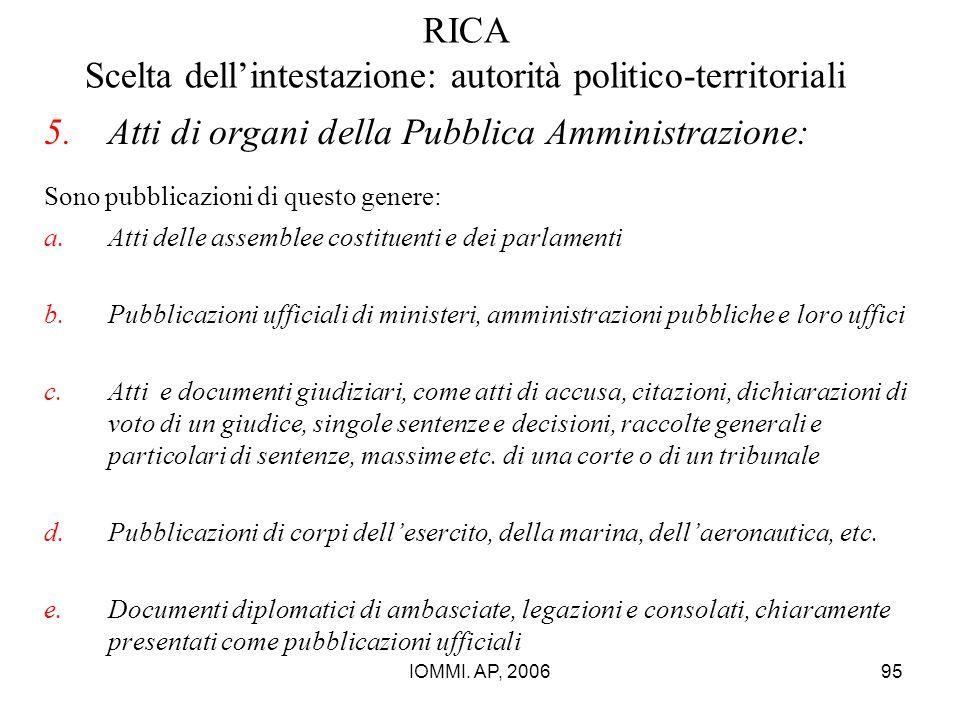 IOMMI. AP, 200695 RICA Scelta dell'intestazione: autorità politico-territoriali 5.Atti di organi della Pubblica Amministrazione: Sono pubblicazioni di