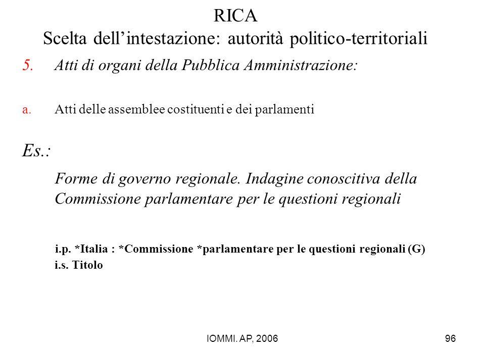 IOMMI. AP, 200696 RICA Scelta dell'intestazione: autorità politico-territoriali 5.Atti di organi della Pubblica Amministrazione: a.Atti delle assemble