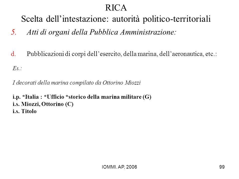 IOMMI. AP, 200699 RICA Scelta dell'intestazione: autorità politico-territoriali 5.Atti di organi della Pubblica Amministrazione: d.Pubblicazioni di co