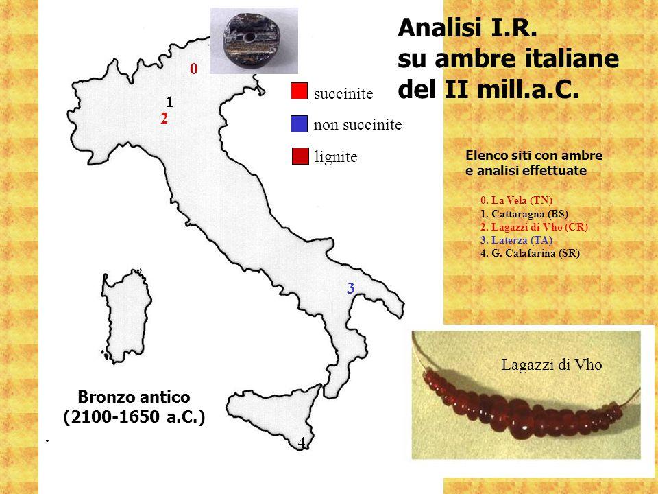 1 2 3 4 Bronzo antico (2100-1650 a.C.). succinite 0. La Vela (TN) 1. Cattaragna (BS) 2. Lagazzi di Vho (CR) 3. Laterza (TA) 4. G. Calafarina (SR) non