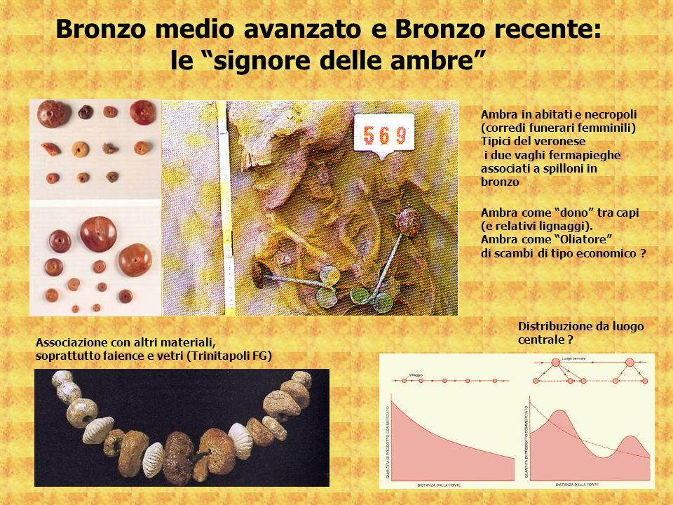 """Bronzo medio avanzato e Bronzo recente: le """"signore delle ambre"""" Ambra in abitati e necropoli (corredi funerari femminili) Tipici del veronese i due v"""