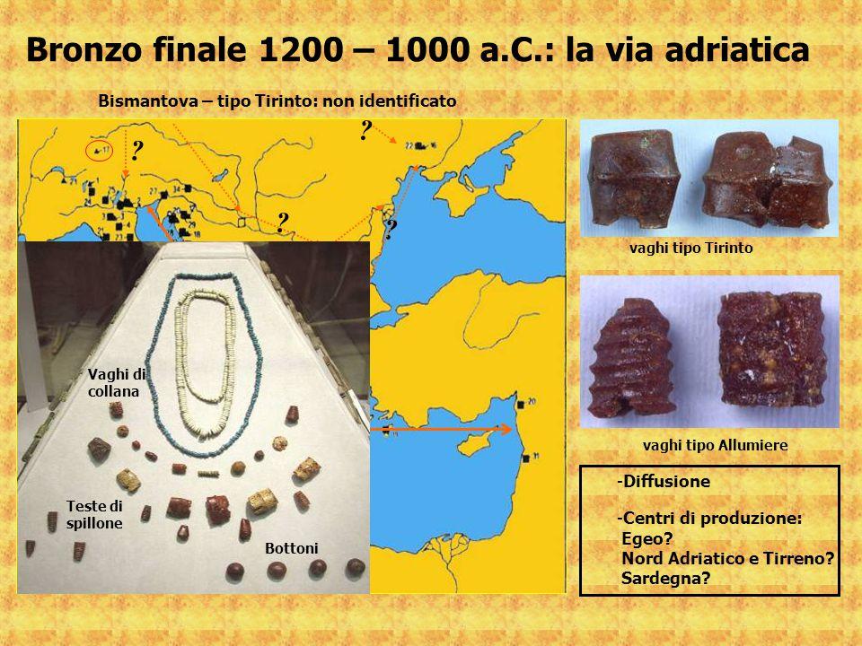 Bronzo finale 1200 – 1000 a.C.: la via adriatica vaghi tipo Tirinto vaghi tipo Allumiere ? ? ? ? -Diffusione -Centri di produzione: Egeo? Nord Adriati
