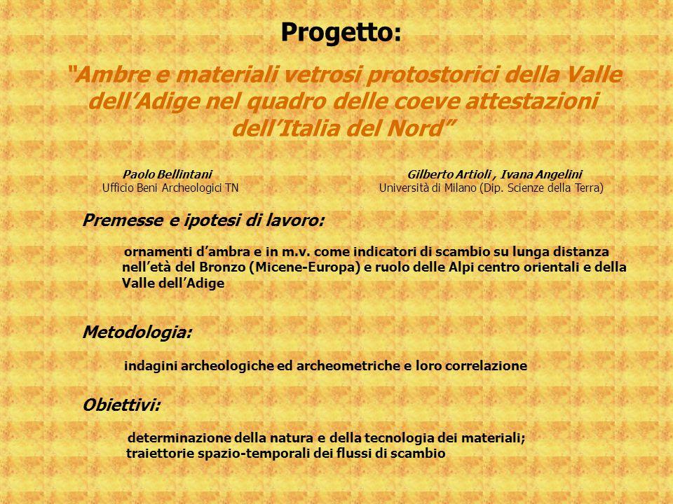"""Progetto : """"Ambre e materiali vetrosi protostorici della Valle dell'Adige nel quadro delle coeve attestazioni dell'Italia del Nord"""" Paolo Bellintani G"""