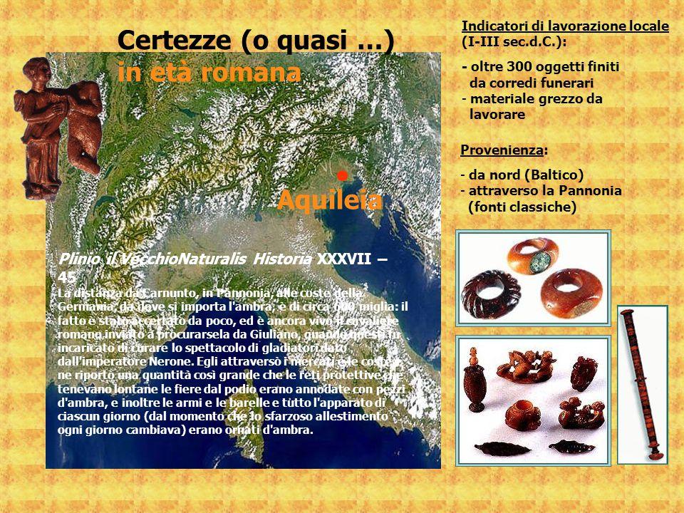 Aquileia Plinio il VecchioNaturalis Historia XXXVII – 45 La distanza da Carnunto, in Pannonia, alle coste della Germania, da dove si importa l'ambra,