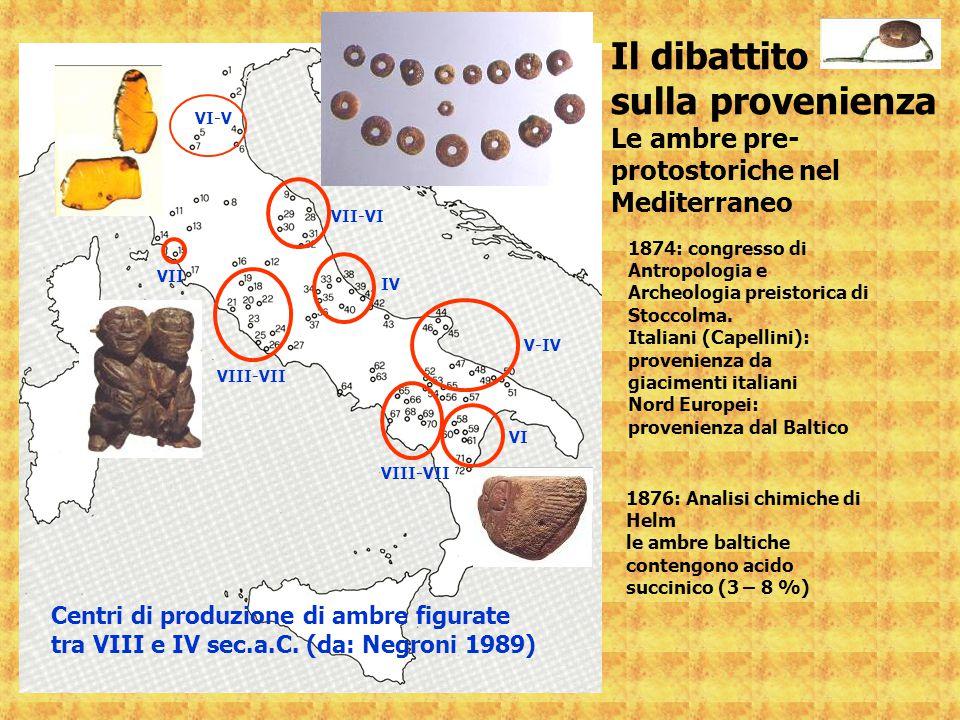 VIII-VII VII VI-V VII-VI IV VIII-VII V-IV Centri di produzione di ambre figurate tra VIII e IV sec.a.C. (da: Negroni 1989) VI Il dibattito sulla prove