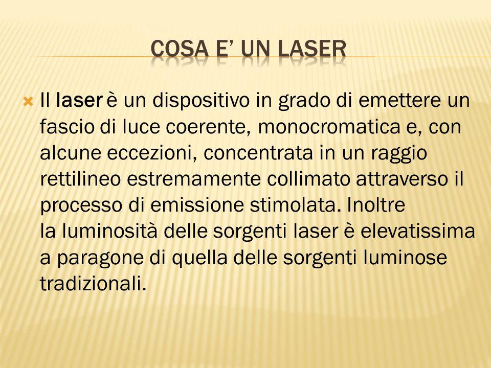  Il laser è un dispositivo in grado di emettere un fascio di luce coerente, monocromatica e, con alcune eccezioni, concentrata in un raggio rettiline