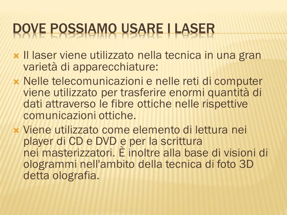  Il laser viene utilizzato nella tecnica in una gran varietà di apparecchiature:  Nelle telecomunicazioni e nelle reti di computer viene utilizzato