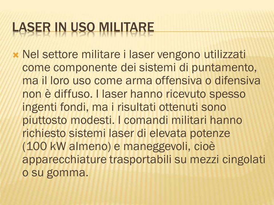  Nel settore militare i laser vengono utilizzati come componente dei sistemi di puntamento, ma il loro uso come arma offensiva o difensiva non è diff