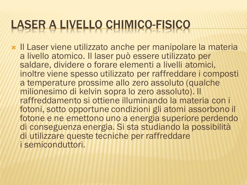  Il Laser viene utilizzato anche per manipolare la materia a livello atomico. Il laser può essere utilizzato per saldare, dividere o forare elementi