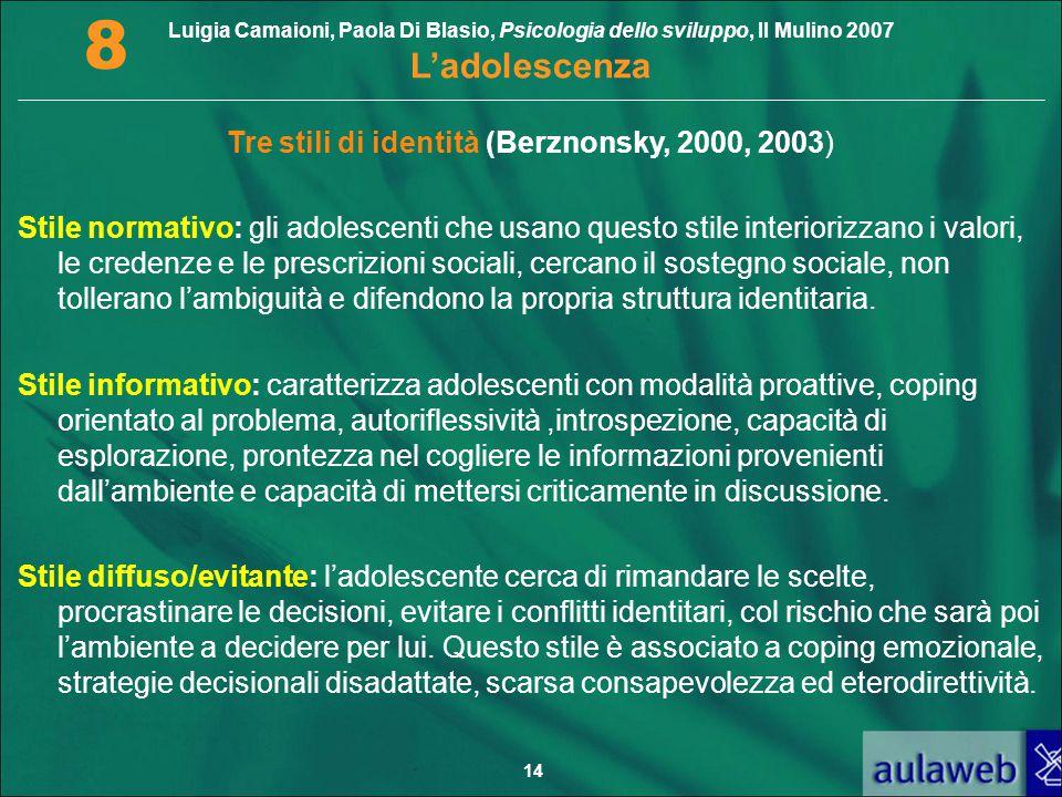 Luigia Camaioni, Paola Di Blasio, Psicologia dello sviluppo, Il Mulino 2007 L'adolescenza 8 14 Tre stili di identità (Berznonsky, 2000, 2003) Stile no