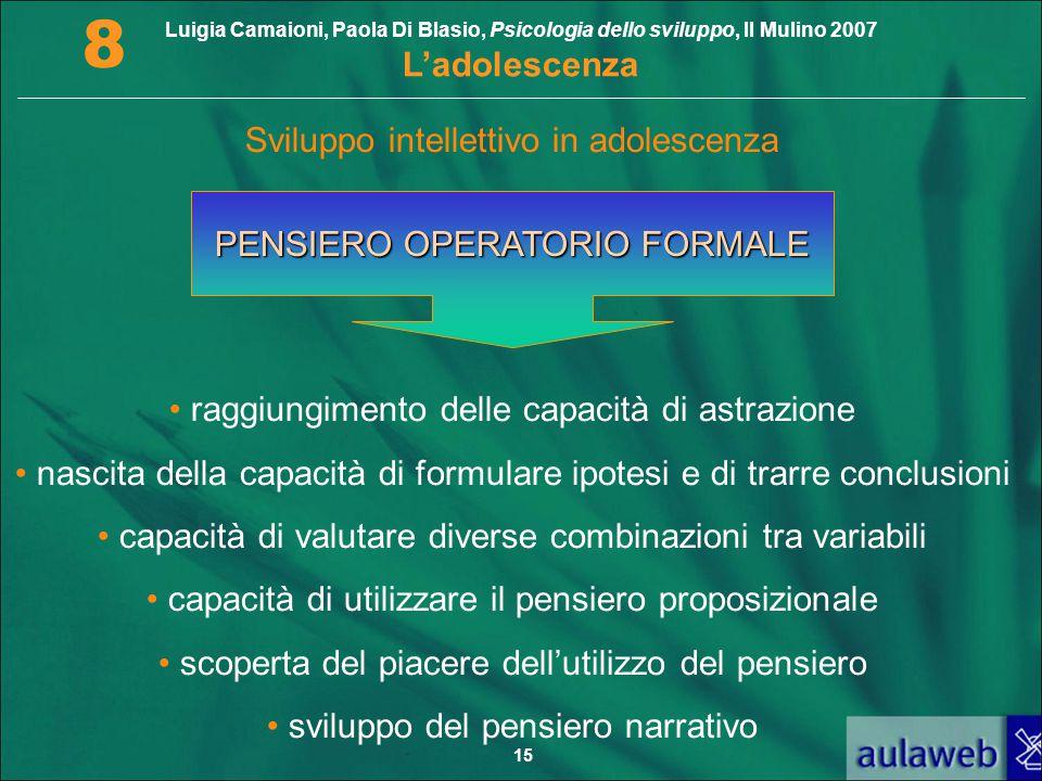 Luigia Camaioni, Paola Di Blasio, Psicologia dello sviluppo, Il Mulino 2007 L'adolescenza 8 15 PENSIERO OPERATORIO FORMALE raggiungimento delle capaci