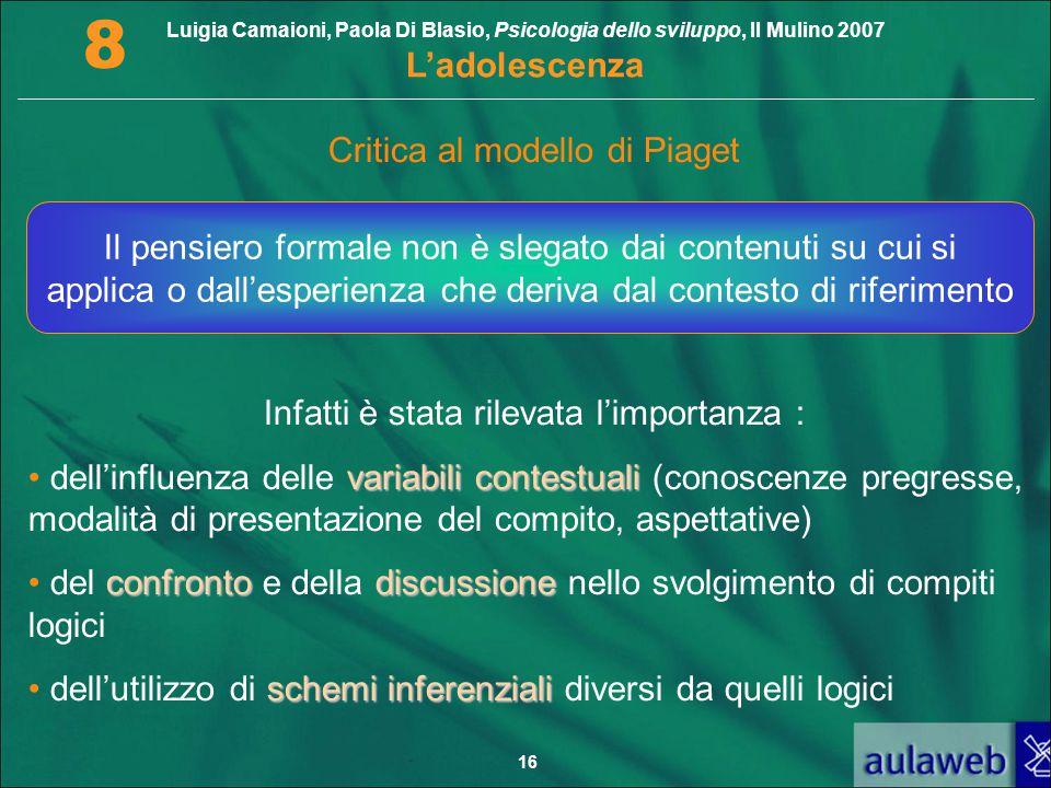 Luigia Camaioni, Paola Di Blasio, Psicologia dello sviluppo, Il Mulino 2007 L'adolescenza 8 16 Critica al modello di Piaget Infatti è stata rilevata l