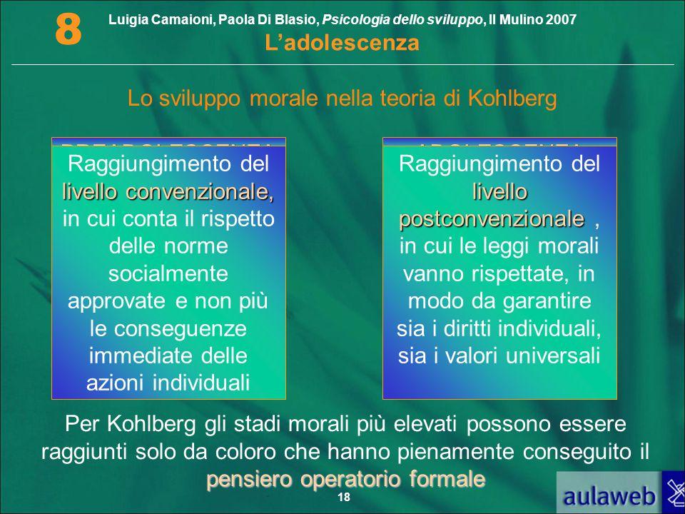 Luigia Camaioni, Paola Di Blasio, Psicologia dello sviluppo, Il Mulino 2007 L'adolescenza 8 18 Lo sviluppo morale nella teoria di Kohlberg PREADOLESCE