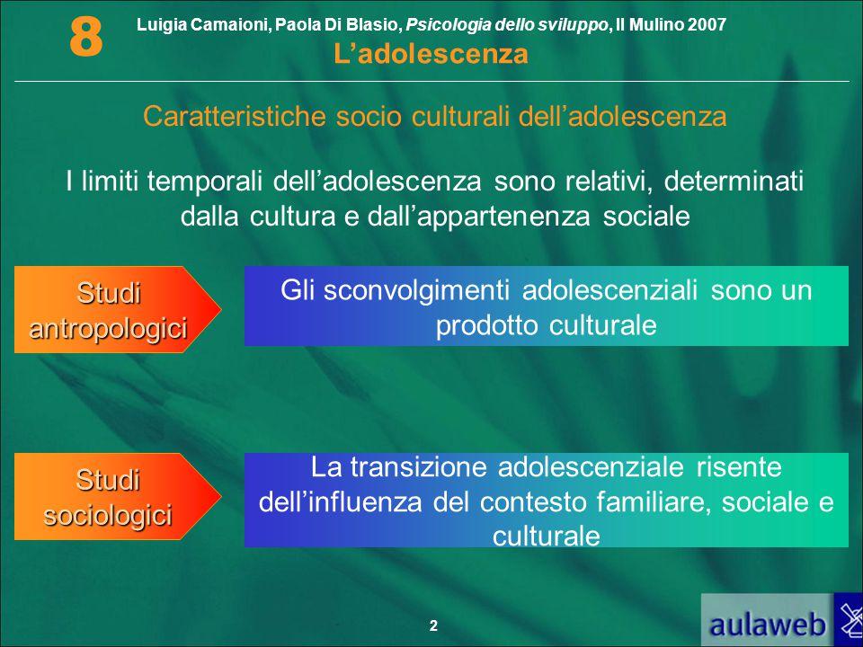 Luigia Camaioni, Paola Di Blasio, Psicologia dello sviluppo, Il Mulino 2007 L'adolescenza 8 2 I limiti temporali dell'adolescenza sono relativi, deter