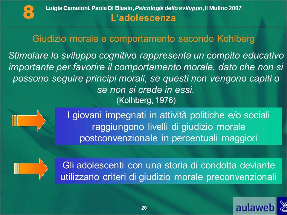 Luigia Camaioni, Paola Di Blasio, Psicologia dello sviluppo, Il Mulino 2007 L'adolescenza 8 20 Giudizio morale e comportamento secondo Kohlberg Stimol