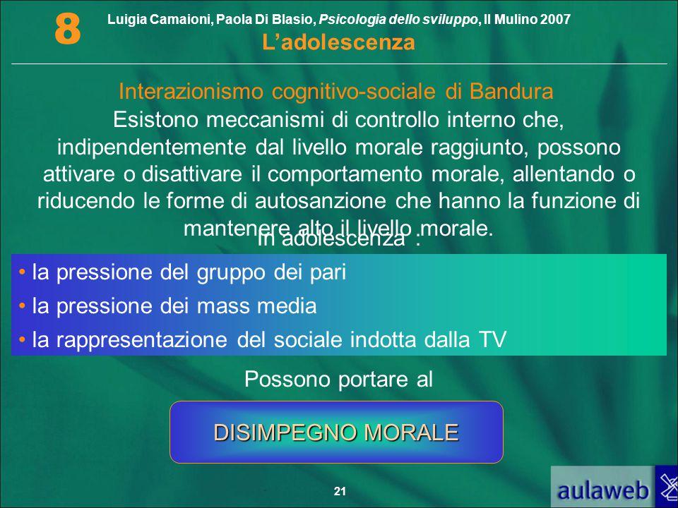 Luigia Camaioni, Paola Di Blasio, Psicologia dello sviluppo, Il Mulino 2007 L'adolescenza 8 21 Interazionismo cognitivo-sociale di Bandura Esistono me