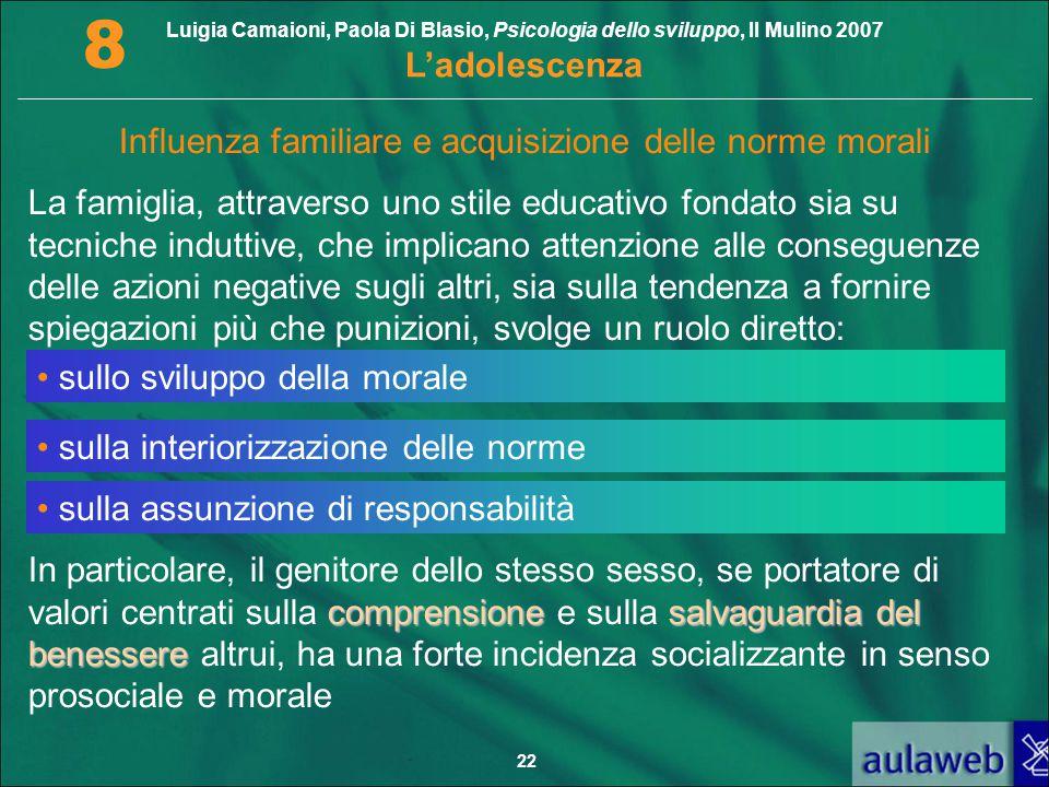 Luigia Camaioni, Paola Di Blasio, Psicologia dello sviluppo, Il Mulino 2007 L'adolescenza 8 22 Influenza familiare e acquisizione delle norme morali L