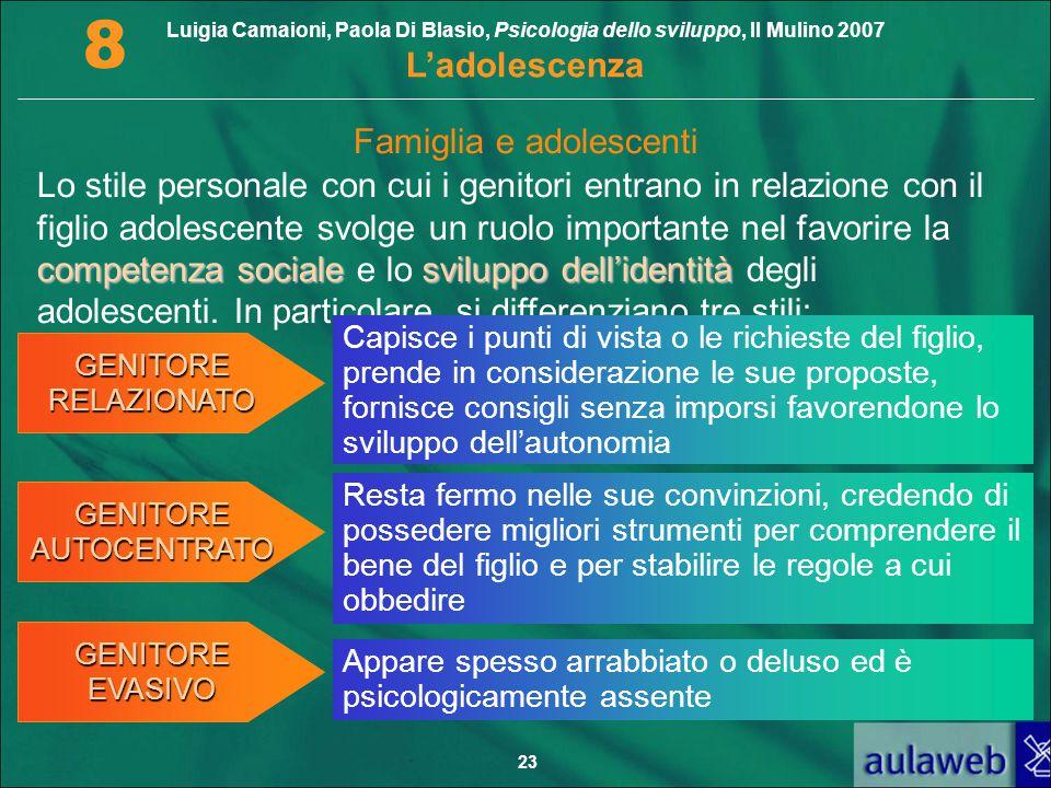 Luigia Camaioni, Paola Di Blasio, Psicologia dello sviluppo, Il Mulino 2007 L'adolescenza 8 23 competenza socialesviluppo dell'identità Lo stile perso