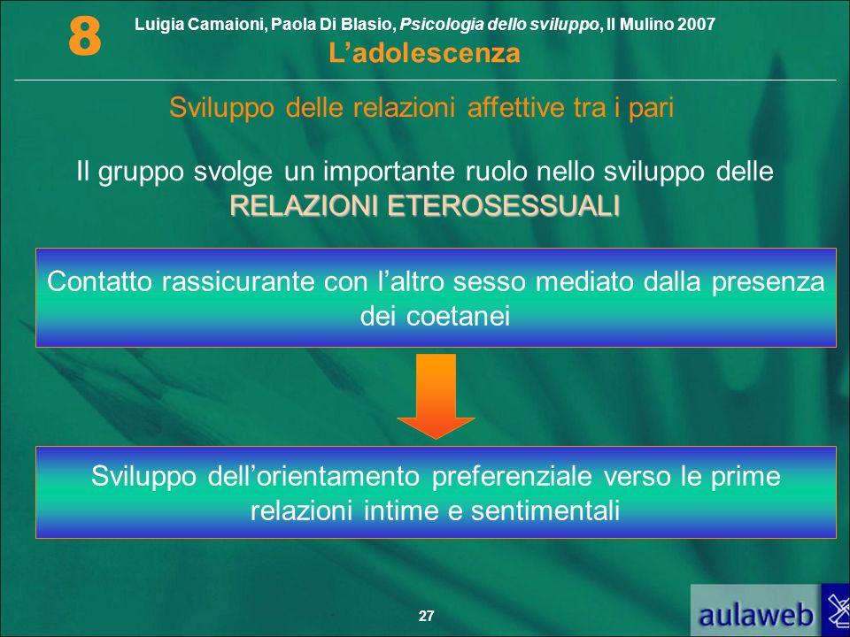 Luigia Camaioni, Paola Di Blasio, Psicologia dello sviluppo, Il Mulino 2007 L'adolescenza 8 27 Sviluppo delle relazioni affettive tra i pari RELAZIONI
