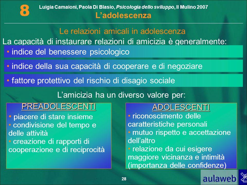 Luigia Camaioni, Paola Di Blasio, Psicologia dello sviluppo, Il Mulino 2007 L'adolescenza 8 28 Le relazioni amicali in adolescenza La capacità di inst
