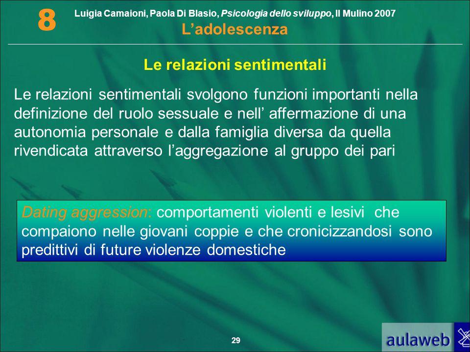Luigia Camaioni, Paola Di Blasio, Psicologia dello sviluppo, Il Mulino 2007 L'adolescenza 8 29 Le relazioni sentimentali Le relazioni sentimentali svo