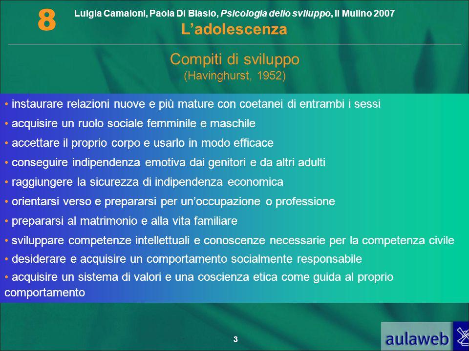 Luigia Camaioni, Paola Di Blasio, Psicologia dello sviluppo, Il Mulino 2007 L'adolescenza 8 3 Compiti di sviluppo (Havinghurst, 1952) instaurare relaz