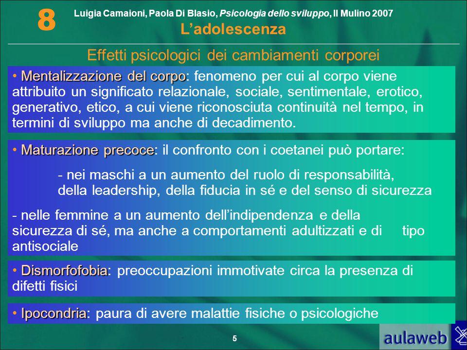Luigia Camaioni, Paola Di Blasio, Psicologia dello sviluppo, Il Mulino 2007 L'adolescenza 8 5 Effetti psicologici dei cambiamenti corporei Mentalizzaz