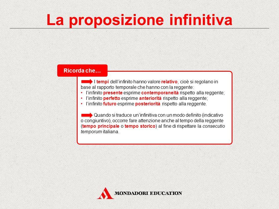 """La proposizione infinitiva Le soggettive e le oggettive in italiano si possono esprimere con: l'indicativo (introdotto da """"che""""): quando sono introdot"""