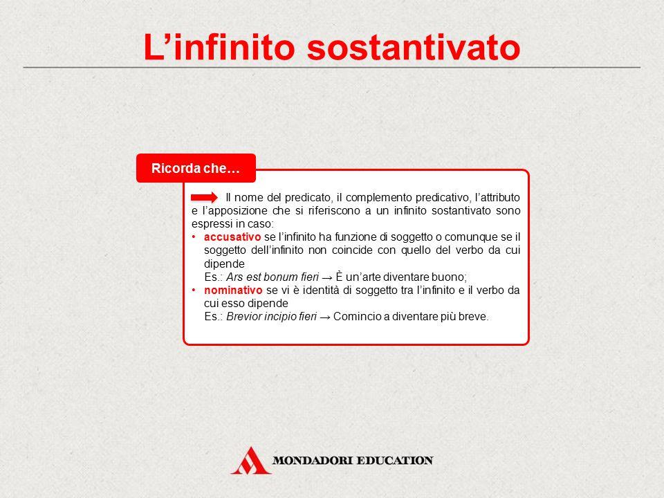 L'infinito sostantivato L'infinito può essere usato in funzione di sostantivo, cioè come un semplice nome astratto indicante l'azione pura e semplice.