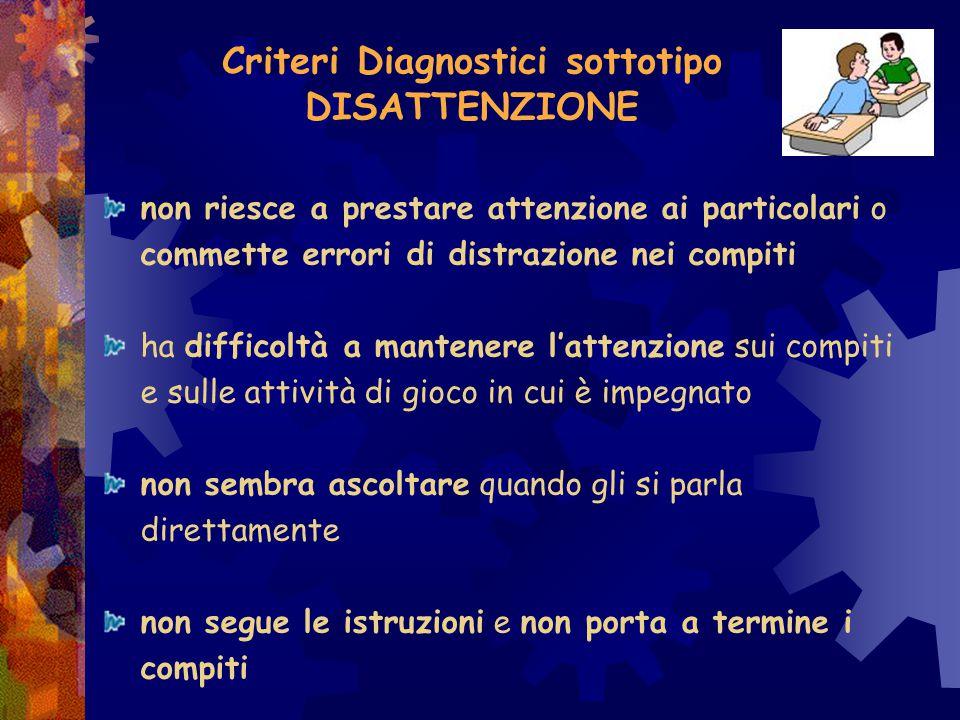 A seconda dei sintomi manifestati vengono individuati 3 distinti SOTTOTIPI : sottotipo disattento; sottotipo iperattivo-impulsivo; sottotipo combinato.
