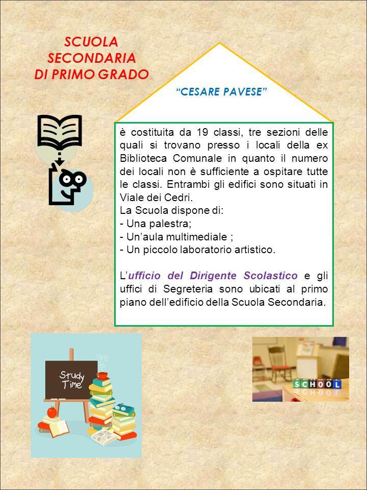 """""""CESARE PAVESE"""" è costituita da 19 classi, tre sezioni delle quali si trovano presso i locali della ex Biblioteca Comunale in quanto il numero dei loc"""