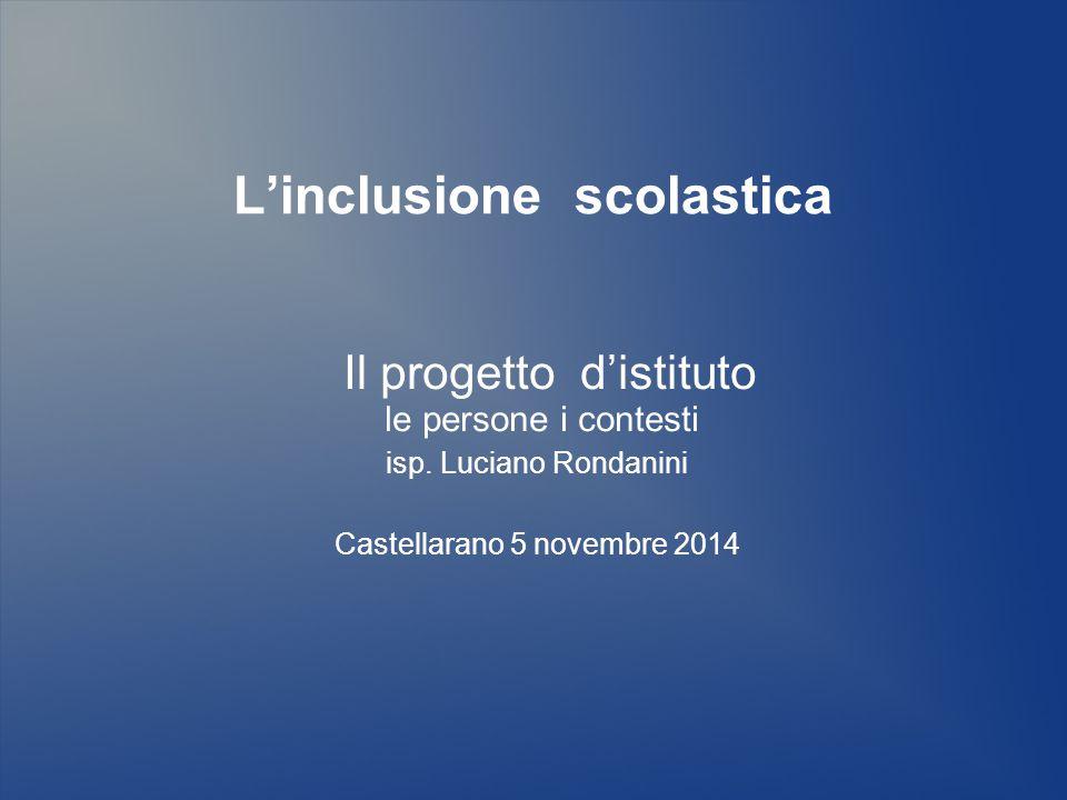L'inclusione scolastica Il progetto d'istituto le persone i contesti isp. Luciano Rondanini Castellarano 5 novembre 2014